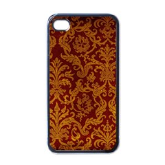 Royal Red And Gold Apple Iphone 4 Case (black) by trendistuff
