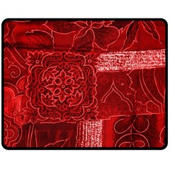 Red Patchwork Double Sided Fleece Blanket (medium)  by trendistuff