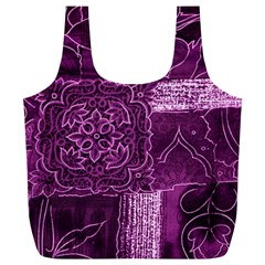Magenta Patchwork Full Print Recycle Bags (l)  by trendistuff