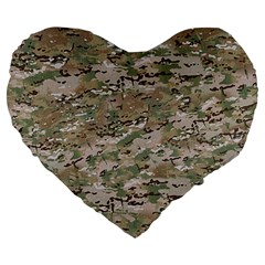 Camo Woodland Faded Large 19  Premium Flano Heart Shape Cushions by trendistuff
