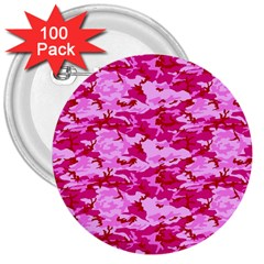 Camo Pink 3  Buttons (100 Pack)  by trendistuff