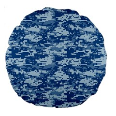 Camo Digital Navy Large 18  Premium Round Cushions by trendistuff