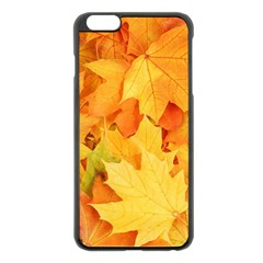Yellow Maple Leaves Apple Iphone 6 Plus/6s Plus Black Enamel Case by trendistuff