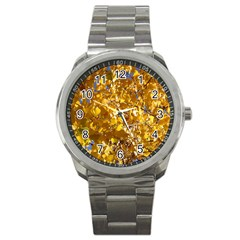Yellow Leaves Sport Metal Watches by trendistuff