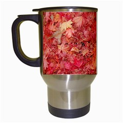 Red Maple Leaves Travel Mugs (white) by trendistuff