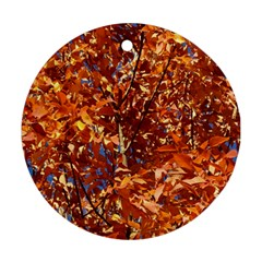 Orange Leaves Ornament (round)  by trendistuff