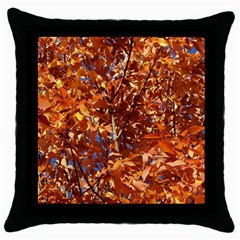 Orange Leaves Throw Pillow Cases (black) by trendistuff