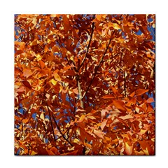 Orange Leaves Face Towel by trendistuff