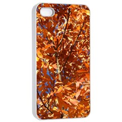 Orange Leaves Apple Iphone 4/4s Seamless Case (white) by trendistuff