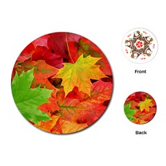 Autumn Leaves 1 Playing Cards (round)  by trendistuff