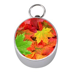 Autumn Leaves 1 Mini Silver Compasses by trendistuff