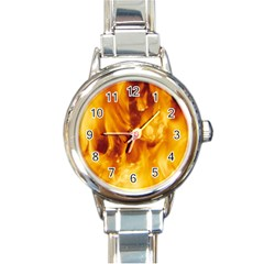 Yellow Flames Round Italian Charm Watches by trendistuff
