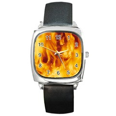 Yellow Flames Square Metal Watches by trendistuff