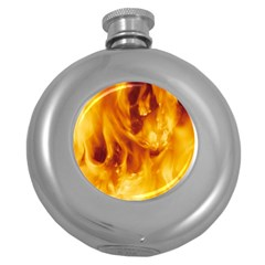 Yellow Flames Round Hip Flask (5 Oz) by trendistuff