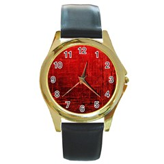 Shades Of Red Round Gold Metal Watches