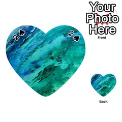 Shades Of Blue Playing Cards 54 (heart)  by trendistuff