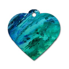 Shades Of Blue Dog Tag Heart (one Side)