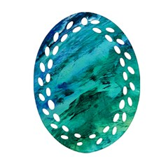 Shades Of Blue Ornament (oval Filigree)  by trendistuff