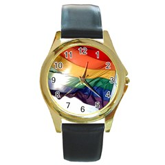 Pride Flag Round Gold Metal Watches