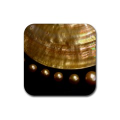 Golden Pearls Rubber Coaster (square)  by trendistuff