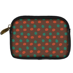 Distorted Polka Dots Pattern Digital Camera Leather Case by LalyLauraFLM