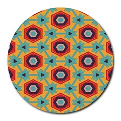 Stars And Honeycomb Pattern Round Mousepad by LalyLauraFLM