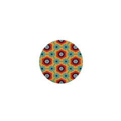 Stars And Honeycomb Pattern 1  Mini Button by LalyLauraFLM