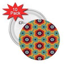Stars And Honeycomb Pattern 2 25  Button (10 Pack) by LalyLauraFLM