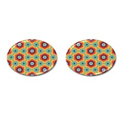 Stars And Honeycomb Pattern Cufflinks (oval)