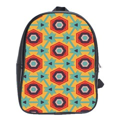 Stars And Honeycomb Pattern School Bag (xl) by LalyLauraFLM