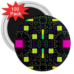 Triangles And Squares 3  Magnet (100 Pack) by LalyLauraFLM
