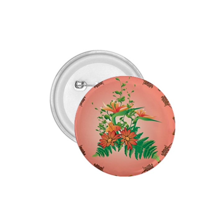 Awesome Flowers And Leaves With Floral Elements On Soft Red Background 1.75  Buttons