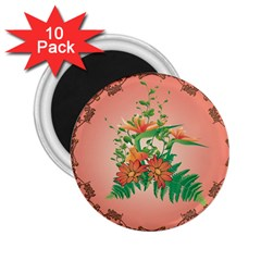 Awesome Flowers And Leaves With Floral Elements On Soft Red Background 2 25  Magnets (10 Pack)  by FantasyWorld7