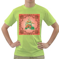 Awesome Flowers And Leaves With Floral Elements On Soft Red Background Green T Shirt