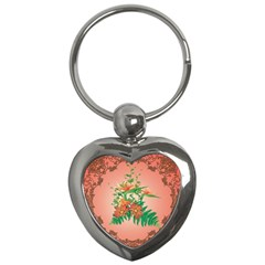 Awesome Flowers And Leaves With Floral Elements On Soft Red Background Key Chains (heart)  by FantasyWorld7