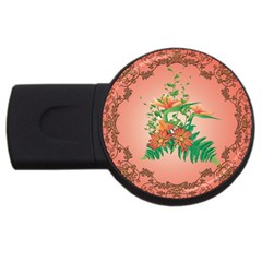 Awesome Flowers And Leaves With Floral Elements On Soft Red Background Usb Flash Drive Round (2 Gb)  by FantasyWorld7