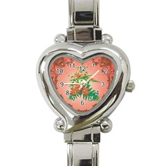 Awesome Flowers And Leaves With Floral Elements On Soft Red Background Heart Italian Charm Watch by FantasyWorld7