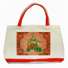 Awesome Flowers And Leaves With Floral Elements On Soft Red Background Classic Tote Bag (red)  by FantasyWorld7