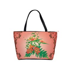 Awesome Flowers And Leaves With Floral Elements On Soft Red Background Shoulder Handbags by FantasyWorld7