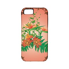 Awesome Flowers And Leaves With Floral Elements On Soft Red Background Apple Iphone 5 Classic Hardshell Case (pc+silicone) by FantasyWorld7