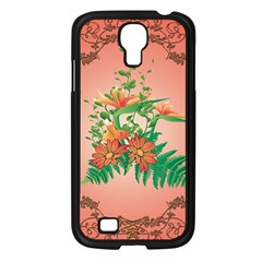 Awesome Flowers And Leaves With Floral Elements On Soft Red Background Samsung Galaxy S4 I9500/ I9505 Case (black) by FantasyWorld7