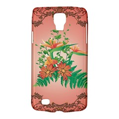 Awesome Flowers And Leaves With Floral Elements On Soft Red Background Galaxy S4 Active by FantasyWorld7