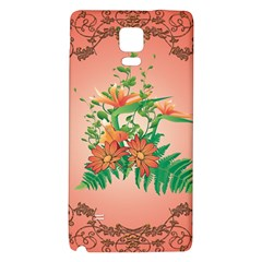Awesome Flowers And Leaves With Floral Elements On Soft Red Background Galaxy Note 4 Back Case by FantasyWorld7