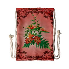 Awesome Flowers And Leaves With Floral Elements On Soft Red Background Drawstring Bag (small) by FantasyWorld7