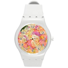 Soft Floral,roses Round Plastic Sport Watch (m) by MoreColorsinLife