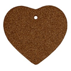 Dark Brown Sand Texture Ornament (heart)  by trendistuff
