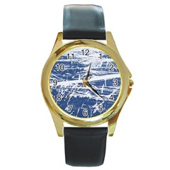 Blue And White Art Round Gold Metal Watches by trendistuff