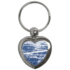 Blue And White Art Key Chains (heart)  by trendistuff