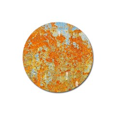 Yellow Rusty Metal Magnet 3  (round) by trendistuff