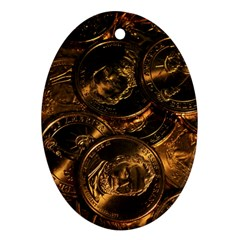 Gold Coins 2 Oval Ornament (two Sides) by trendistuff